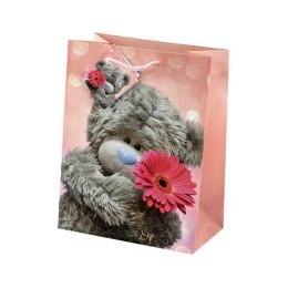 Маленький подарочный пакет Мишка Ми ту ю с цветочком