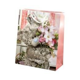Подарочный пакет Мишка MTY с букетом цветов