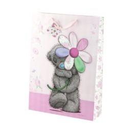Большой подарочный пакет Мишка Тедди шагает с ромашкой