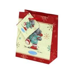 Маленький подарочный пакет Мишка Тедди в курточке и красных сапожках