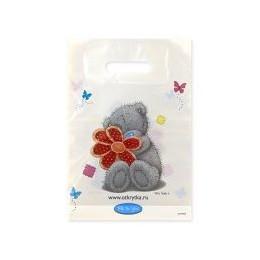 Пакет п/э маленький Мишка Тедди с цветком