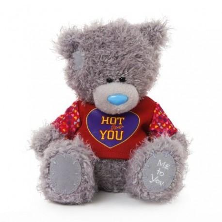 Мишка Тедди в красном свитерке с надписью HOT FOR YOU 18 см (G01W3360)