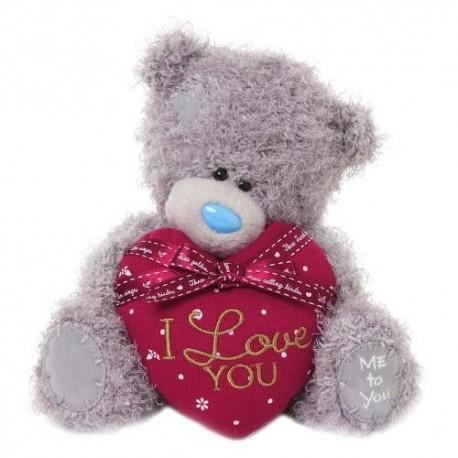 Мишка Me to you с красным сердцем в руках I love you, 18 см (G01W3297)