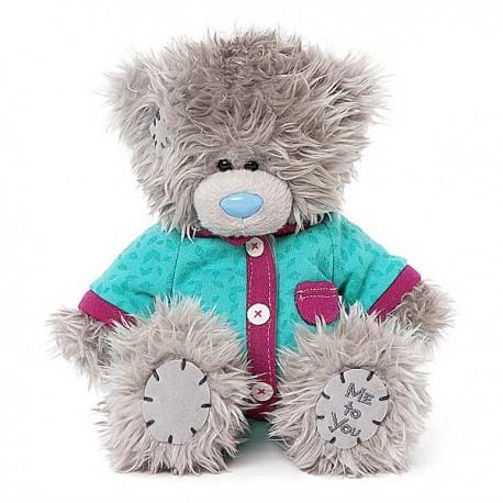 Мишка Тедди в голубеньком комбинезоне в бордовой отделке 18 см (G01W3780)