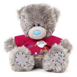 Мишка Тедди в красной футболке Санта с оленями 18 см (G01W3719)
