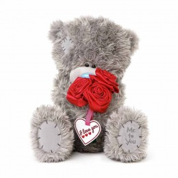 Мишка Тедди с букетом красных роз 30 см (G01W3825)