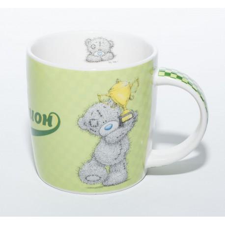 Зелёная Чашка Мишка MTY держит кубок Один на миллион (0665.405/6)