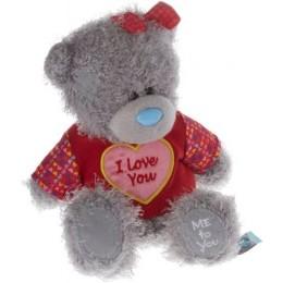 Мишка Ми ту ю в красном свитере с надписью I LOVE YOU и красной бабочкой на голове 18 см (G01W3511)