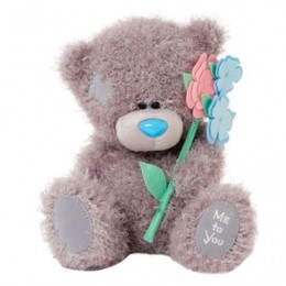 Мишка Тедди с цветами 18 см (G01W3394)