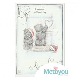 Открытка Мишки рисуют сердце на стекле С любовью на Новый Год
